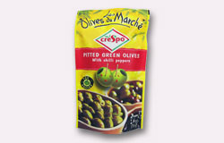 Single Pouch Crespo Pitted Green Olives with Chili Pepper